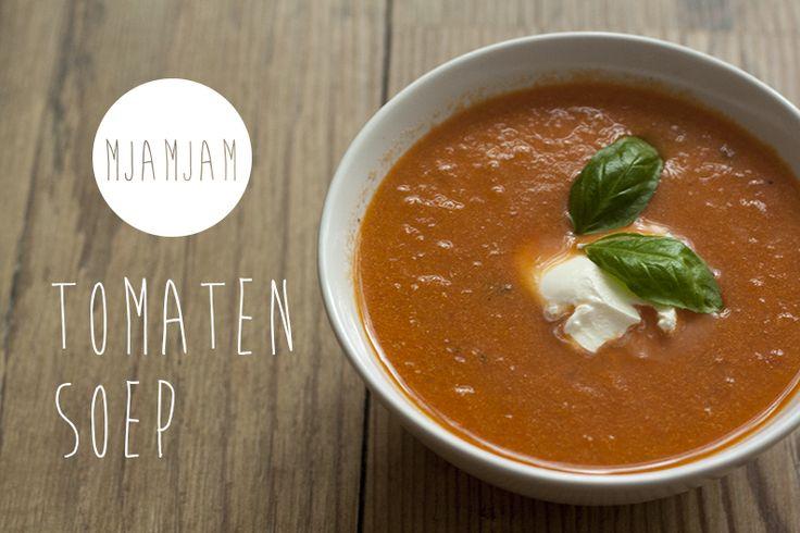 Tomaten creme soep met basilicum. http://mjamjam.nl/tomatensoep-met-basilicum/