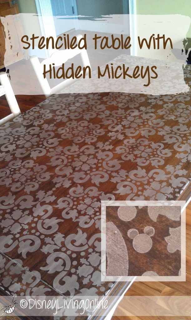 Stenciled table with hidden Mickeys. Ummm. I'm pretty sure I'm in love this and am now going to have to stencil hidden Mickey's on every piece of furniture I own. Just Kidding. Love this though!