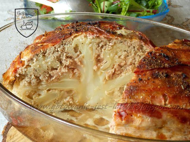 Kalafior zapiekany z mięsem i boczkiem