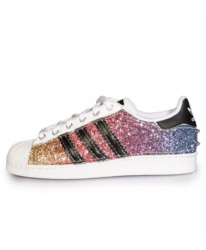 sports shoes c3f47 b8ec8 Cheap Adidas Superstar Glitter Rainbow Womens Trainers