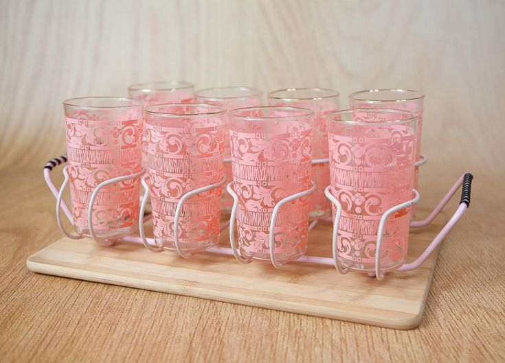 Vintage Pink 1950s Scroll Pattern, gold rim, Glassware set w/ pink ...