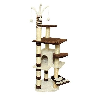 Oxgord Paws & Pals Cat Scratch Tree Condo Furniture 64 - Brown and White