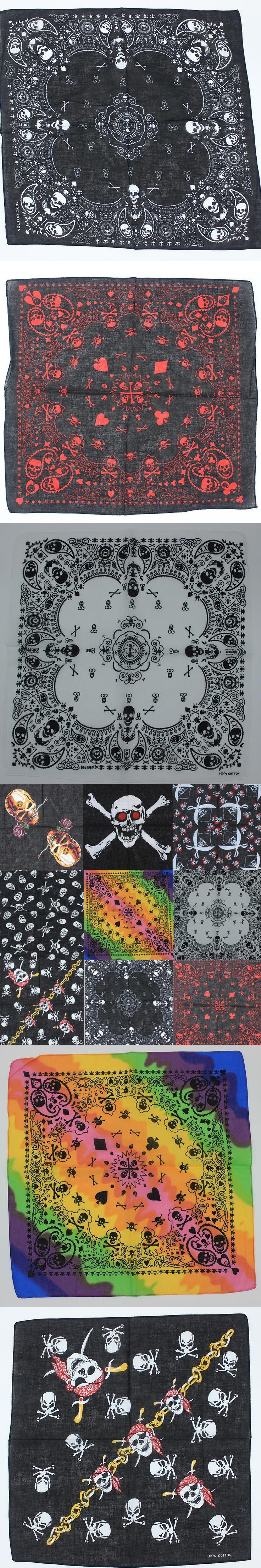 2017 New Design Fashion Hip Hop 100% Cotton Skull Bandana Square Scarf Black Paisley Bicycle Headband For Women/Men/Boys/Girls