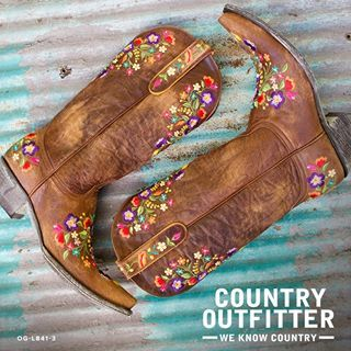 The bright floral embroidery on the warm distressed leather uppers make this a fun and festive cowgirl boot. | Country Outfitter