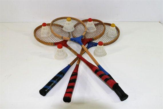 Vintage Badminton Set Four Racquets Six by vintagediana72 ... Badminton Set