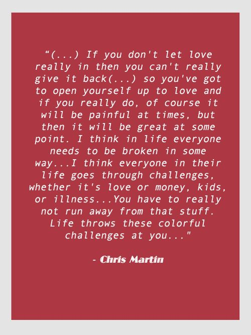 Wise words from Chris Martin