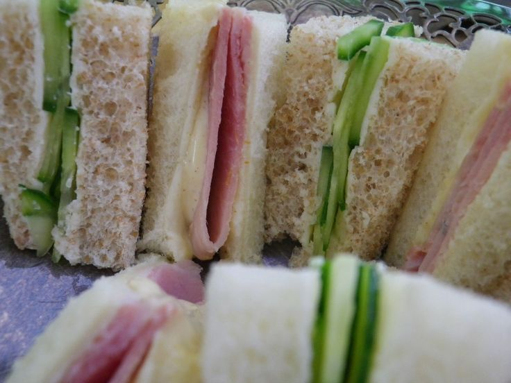 Ham and cucumber sandwiches.Always buy thin or medium sliced bread - never thick, for afternoon tea... And it goes without saying that the better the bread, the tastier the sandwich will be.