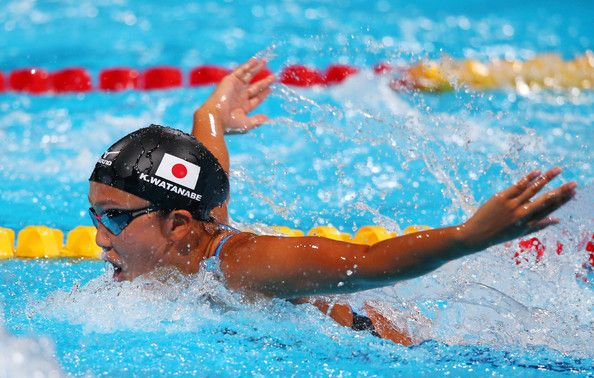 Kanako Watanabe of Japan competes during the Swimming Women's 200m Individual Medley Heat 4 on day nine of the 15th FINA World Championships at Palau Sant Jordi on July 28, 2013 in Barcelona, Spain.