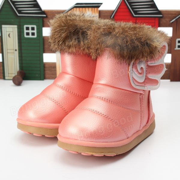 Children Girls Real Rabbit Fur Pu Leather Shoes Winter Warm Snow Boots - US$21.49