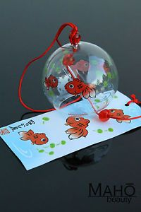 Japanese Traditional Bell FURIN Glass Wind Chime refreshing sound GOLDFISH NEW
