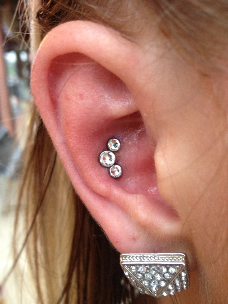 Triple conch ear piercing 14gauge. This was pretty painful