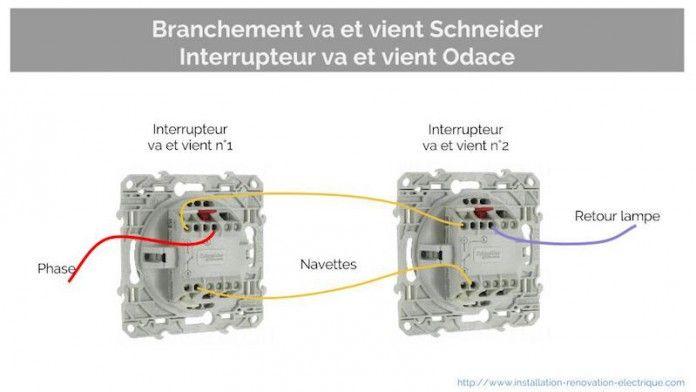 Exemple Branchement Va Et Vient Interrupteur Odace Schneider Schema Electrique Electrique Va Et Vient Electrique
