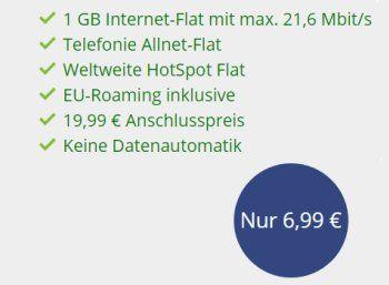 Vodafone: Flat Allnet Comfort mit Allnet-Flat und 1 GByte Daten für 6,99 Euro https://www.discountfan.de/artikel/tablets_und_handys/vodafone-flat-allnet-comfort-mit-allnet-flat-und-1-gbyte-daten-fuer-699-euro.php Eine Allnet-Flat im Vodafone-Netz ist inklusive weltweiter Hotspot-Flat und GByte-Datenflat jetzt für kurze Zeit zum Preis von 6,99 Euro im Monat zu haben – lohnend ist die Offerte allerdings nur in den ersten zwei Jahren. Vodafone: Flat Allnet Comfort mit
