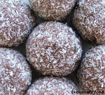 These chocolatey, coconut-coated rum balls contain juicy sultanas. They are best made at least a day before serving to allow them to firm u...
