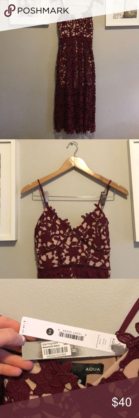 Aqua embroidered dress Beautiful Bloomingdales Aqua dress in maroon! Never worn! Aqua Dresses Midi