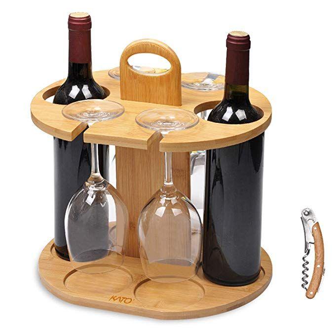 Kato Wine 2 Bottle Holder 4 Glass Rack Wine Glass Hanging Drying Stand Organizer On Countertop Tablet Wine Bottle Glass Holder Wine Holder Wine Bottle Glass