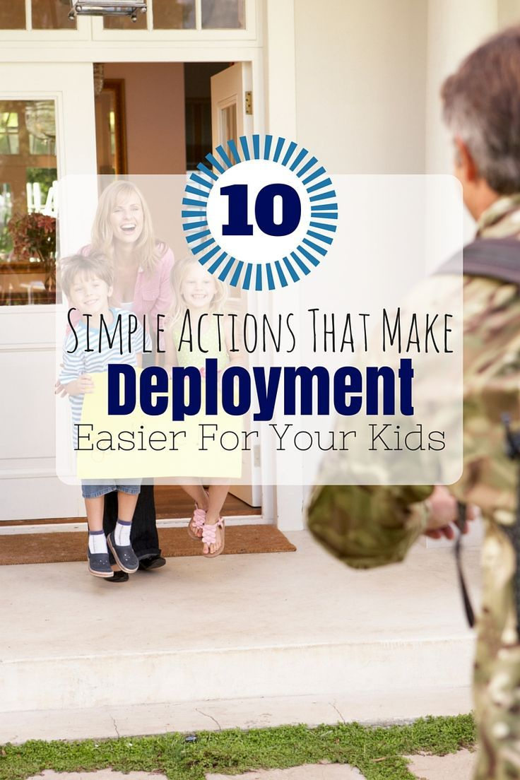 Deployments can not be avoided and unfortunately there is nothing you can do. However, there are a few things you CAN do to make it easier for your children. These 10 simple actions will provide a guide for how you can deal with deployment and help your k