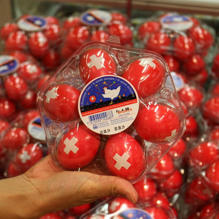 Patriotic eggs for Swiss National Day spotted at Migros