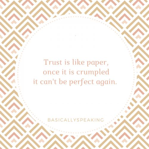 A motivational quote about trust.