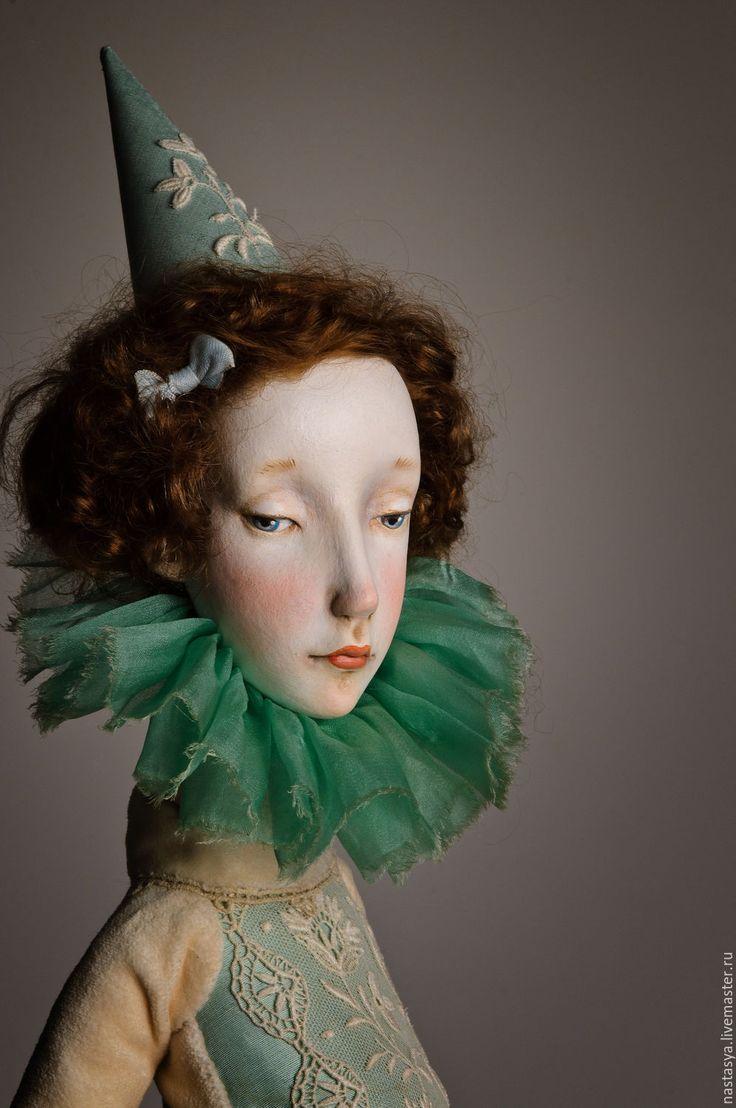 Купить АКЦИЯ! Авторская кукла Августина - белый, сливочный, голубой, небесно-голубой, кукла