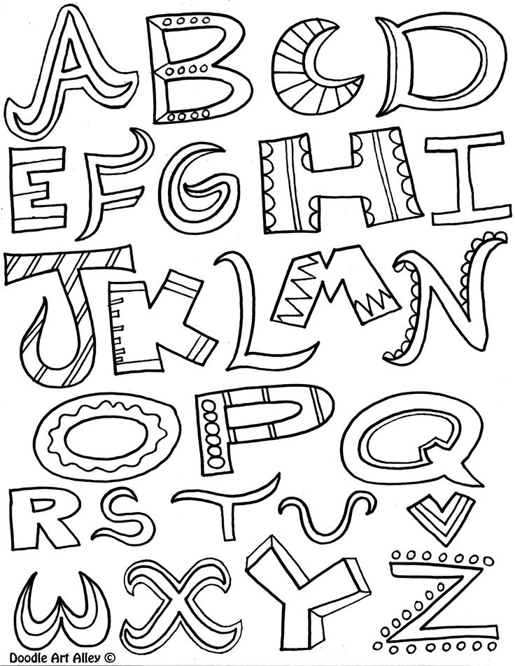 Alphabet Doodles Coloring PagesLettering IdeasChalkboard LetteringCreative LetteringAlphabet Letters