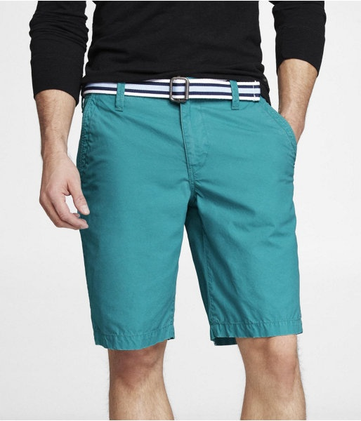 """Express Mens 10"""" Producer Fit Belted Flat Front Shorts Turquoise, 34"""