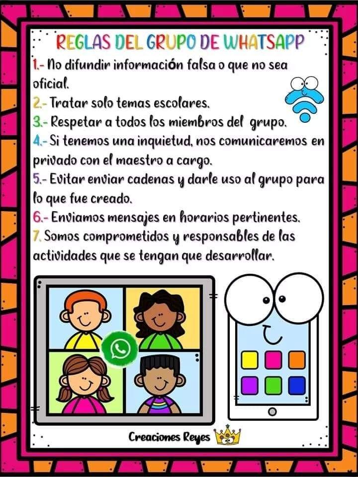 Reglas Para Grupo De Whatsapp Actividades Escolares Etiquetas Preescolares Preescolar Material Didactico