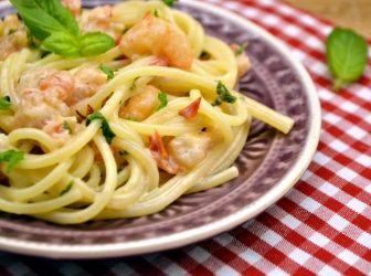Tejszínes garnélás spagetti recept