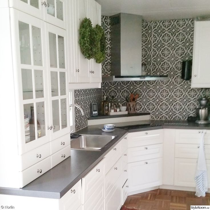 love the white cabinets with grey counter