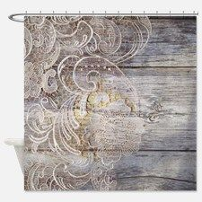 barn wood lace western country Shower Curtain for