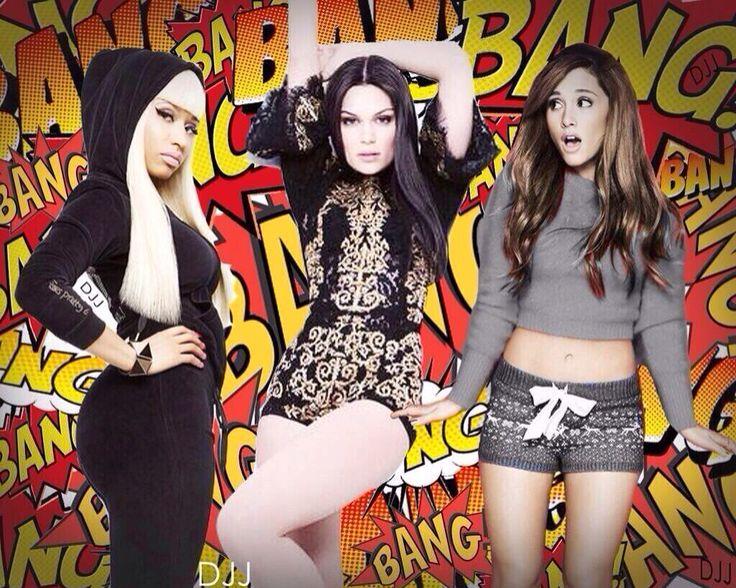 Ariana Jesy J and Nicki Manaj making a song called Bang Bang.