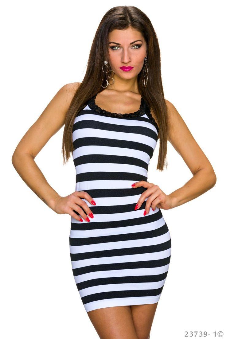 Summer Fantasia Black Dress, lace details, sleeveless, horizontal stripes, form-fitting, elastic fabric, women`s dress