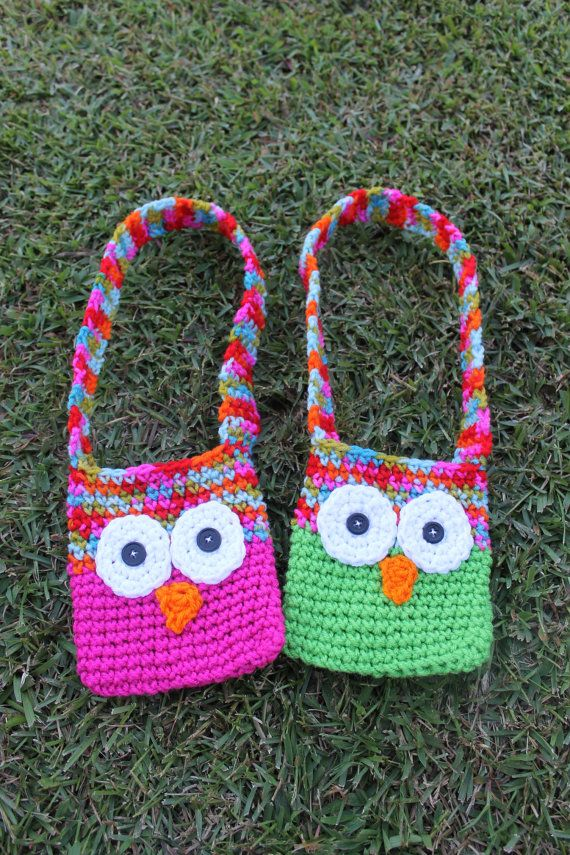 PDF Pattern for Kids Crochet Owl Bags with Strap. par KraftyShack