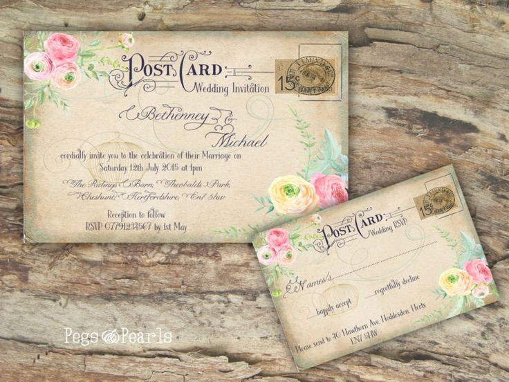 personalised vintage postcard pastel floral wedding invitations packs of 10 in - Postcard Wedding Invitations