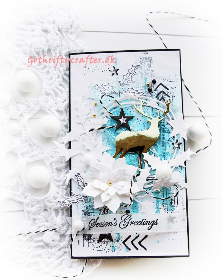 GoThriftyCrafter white blue christmas scrapbook card gold New year, Xmas, wreath Скрапбукинг, открытка Новый Год