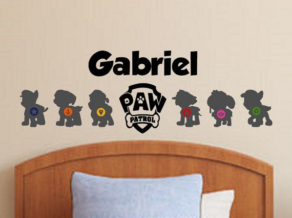 Paw Patrol Wall Decal  Personalized Name Vinyl by ElegantWallArt