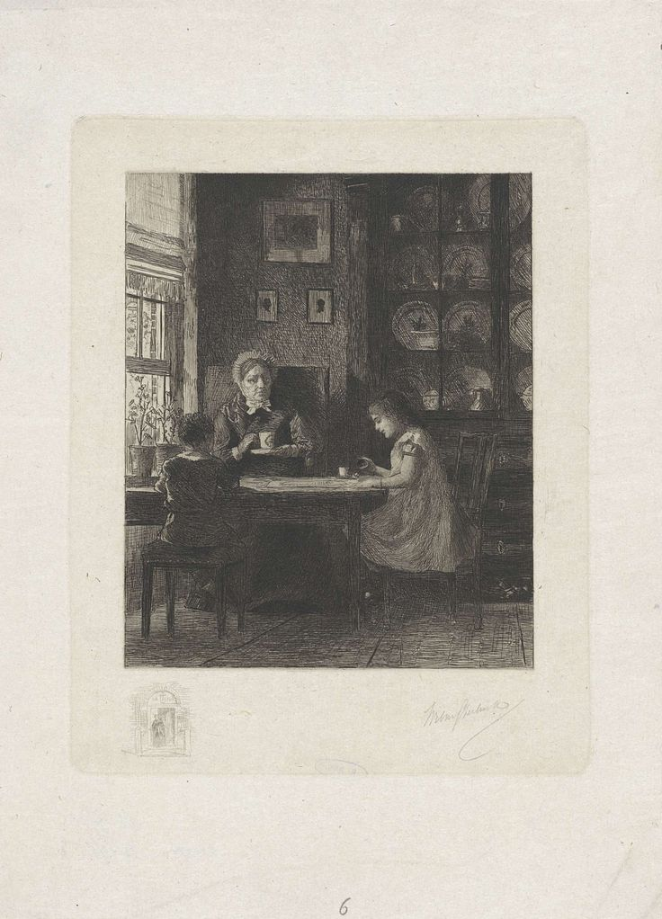 Moeder met twee kinderen aan tafel, Willem Steelink (II), 1866 - 1928