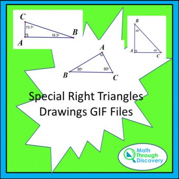 This folder contains 18 drawings of 3-4-5 triangles 7-24-25 triangles 5-12-13 triangles 8-15-17 triangles 30 deg-60 deg-90 deg triangles 45 deg-45 deg-90 deg triangles 40 deg-50 deg-90 deg triangles 10 deg-80 deg-90 deg triangles as gif files. These can be used in any file as an image.