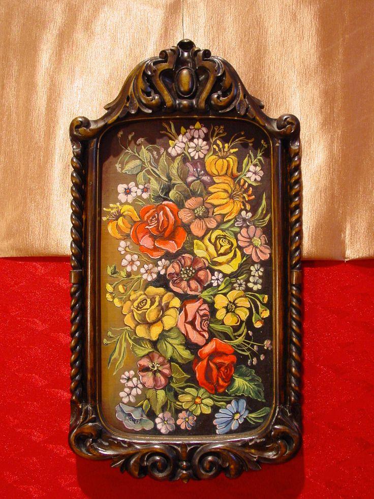 Rama- snycerka w drewnie lipowym. Kwiaty- obraz olejny.