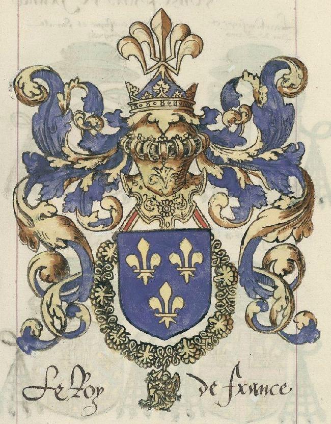 """Le roi de France et ses 12 pairs, à retrouver sur le blog """"Tout sur l'héraldique : dessin de blasons et d'armoiries"""""""