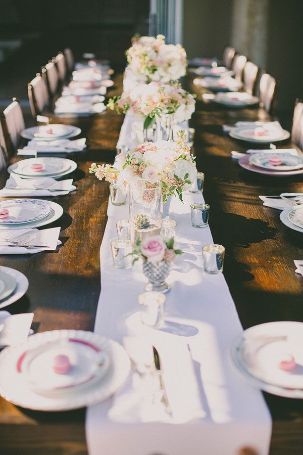A bare wood table provides a super vintage vibe. Plus, you'll save on the table cloth! #vintageweddings: Frazier Wedding, Wedding Tablescapes Rustic, Tablescape Weddingreception, Receptions Tablerunner, Elegant Tablescape, Photo, Elegant Wedding, California Wedding