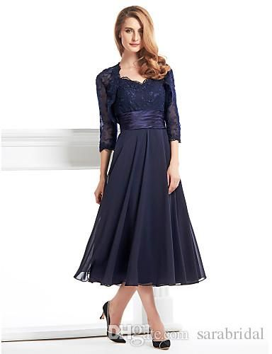 Never miss the chance to get the best mother of the bride dresses plus,mother of the brides dressand mother of the groom dresses plus sizes on DHgate.com. The cheap  ink blue tea length dresses for mother lace long sleeve jecket chiffon plus size mother of the bride dress party prom gowns wwl is for sale in sarabridal and buy it now!