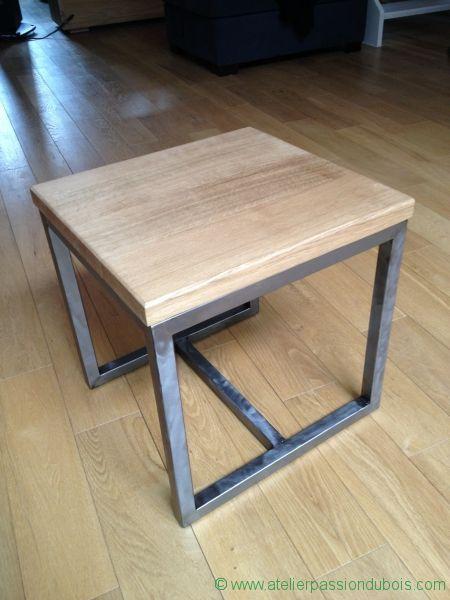 Table appoint bois metal. Réalisation d'une table d'appoint en bois et métal. plateau en chêne huilé et structure en acier vernis.