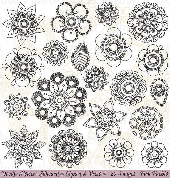 Doodle Flowers Silhouettes Clipart Clip Art Doodle by PinkPueblo, $6.00