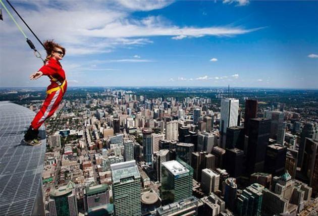 Edge Walk at CN Tower Toronto Skyscraper