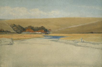 Exceat Farm and the Cuckmere Valley. The lower half blank canvas. Fishing figures suggested at right and unfinished view of farm buildings nestling in folds of hills winding river in foreground.