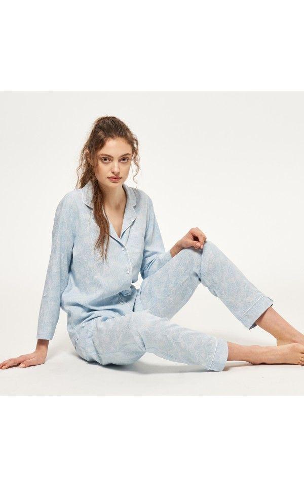 Piżama we wzory, Koszule nocne, szlafroki, niebieski, RESERVED