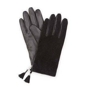 Black Leather and Suede Gloves