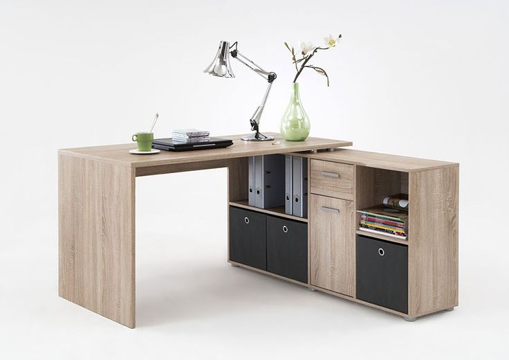 bureau avec plateau tournant couleur chêne