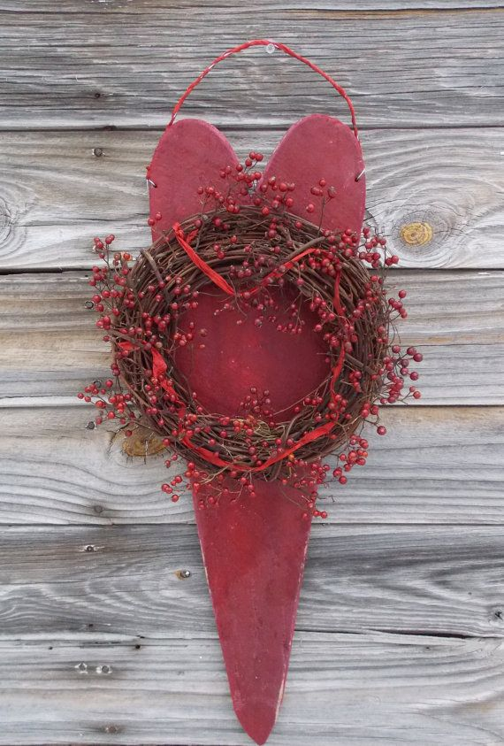 LARGE Primitive Barn Heart Wreath Wild Rose Hips for Country Christmas Valentine's Day Home Decor